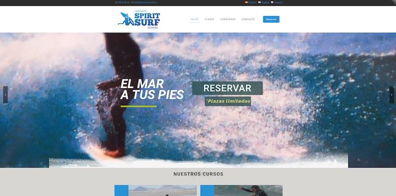 Nuevo desarrollo Web , Lanzarote Spirit Surf School